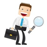 11618616-businessman-with-magnifying-glass-and-suitcase-vector